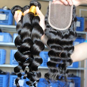 Mongolian Virgin Hair Loose Wave Middle Part Lace Closure with 3pcs Weaves