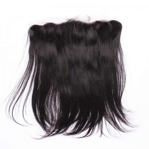Natural Color Silky Straight Brazilian Virgin Hair Lace Frontal Closure 13x4inches