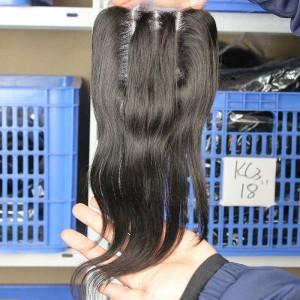 Natural Color Brazilian Virgin Hair Silk Straight Three Part Lace Closure 4x4inches