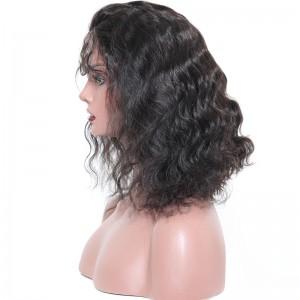 250% Density Short Bob Lace Front Human Hair Wig Brazilian Wave Hair 16inch Natural Black Color