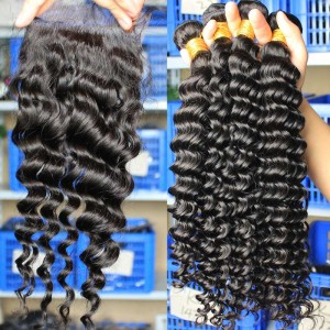 Indian Virgin Hair Deep Wave Free Part Lace Closure with 3pcs Weaves