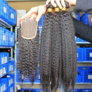 Mongolian Virgin Hair Kinky Straight Free Part Lace Closure with 3pcs Weaves