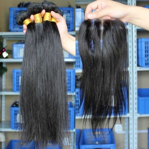 Brazilian Virgin Hair Silk Straight Middle Part Lace Closure with 3pcs Weaves