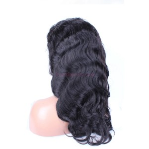 Natural Color Body Wave Brazilian Virgin Human Hair Silk Top Lace Wigs