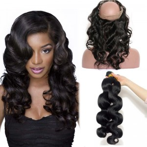 360 Lace Frontal Closure With 3 Bundles Brazilian Virgin Hair Body Wave 360 Lace Band