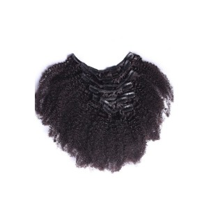 Afro Kinky Curly Brazilian Virgin Clip In Hair Extensions Natural Color