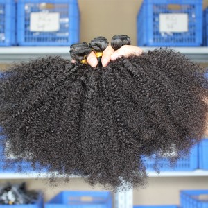 Afro Kinky Curly Indian Remy Human Hair Extensions 4 Bundles Natural Color