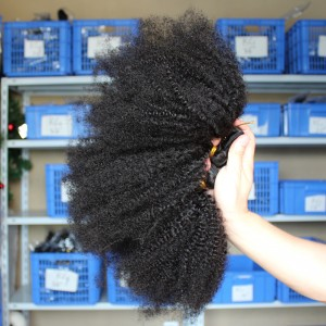 4 Bundles Malaysian Virgin Human Hair Weaves Afro Kinky Curly Natural Color