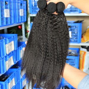 Indian Remy Human Hair Kinky Straight Hair Weave Natural Color 3 Bundles