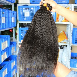 Natural Color Peruvian Virgin Human Hair Kinky Straight Hair Weave 3 Bundles