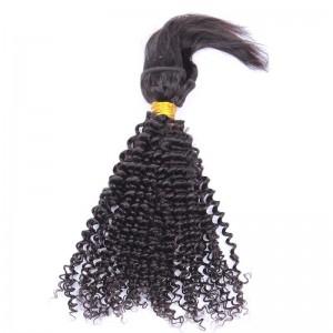 Natural Color Kinky Curly Braid In Bundle Hair Weaves Brazilian Virgin Human Hair 3 Bundles