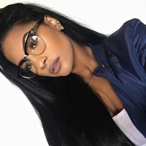 Natural Color Silk Straight 100% Brazilian Virgin Human Hair Wig Lace Front Wigs