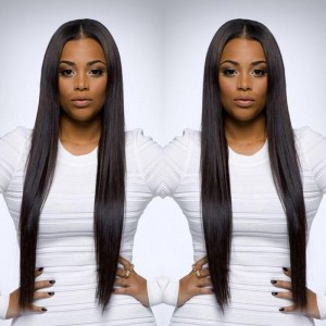 Pre-Plucked Lace Front Ponytail Wigs Peruvian Silk Straight Lace Wigs 150% Density Wigs Natural Hairline