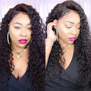 250% Density Lace Front Human Hair Wigs Brazilian Deep Curly Full Lace Human Hair Wigs For Black Women