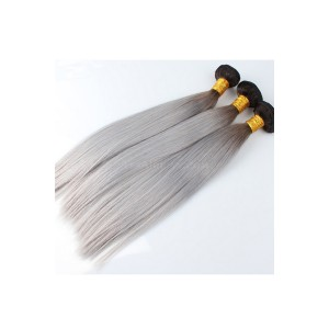 Ombre Hair Weave Color 1b/#Grey Brazilian Silky Straight Virgin Human Hair