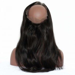360 Lace Frontal Band Silky Straight Brazilian Virgin Hair Pre-plucked 360 Lace Frontal Natural Hairline 22.5*4*2