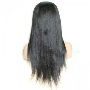 Silk Straight Brazilian Virgin Human Hair Glueless Full Lace Wigs Natural Color
