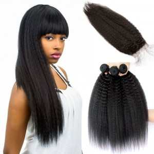 Brazilian Virgin Hair with Closure Kinky Straight 3 Bundles with 1 closure Natural Color