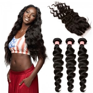 Brazilian Virgin Human Hair Extensions Loose Wave 3 Bundles with 1 closure Natural Color Body Wave