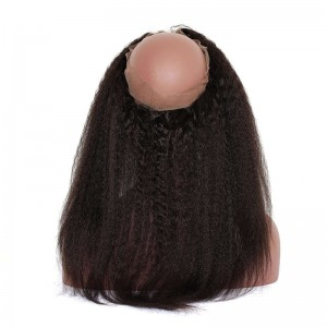 360 Lace Fronal Band with Cap Brazilian Virgin Hair Kinky Straight Natural Hairline 22.5*4*2