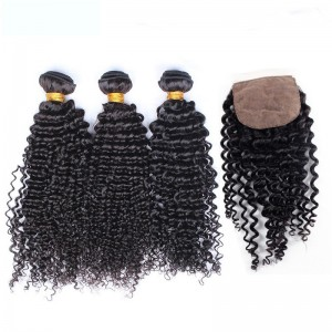 Brazilian Virgin Hair Kinky Curly Silk Base Closure With 3Pcs Hair Weaves Natural Color