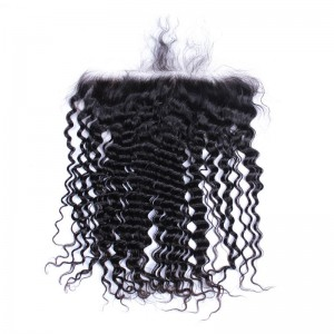 13*6 Lace Frontal With Natural Hairline Deep Wave Brazilian Virgin Hair Lace Frontal