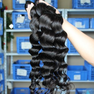 Natural Color Indian Remy Human Hair Loose Wave Hair Weave 3 Bundles