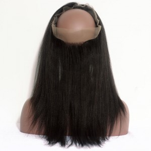360 Lace Frontal Closure Light Yaki Brazilian Virgin Hair Lace Frontal Natural Hairline 22.5*4*2