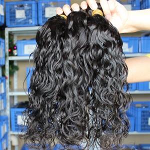 Malaysian Virgin Human Hair Extensions Weave Wet Wave 4 Bundles Natural Color
