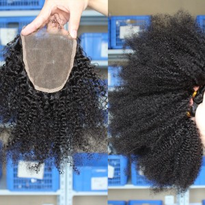 Peruvian Virgin Hair Afro Kinky Curly Three Part Lace Closure with 3pcs Weaves