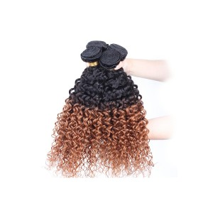 Ombre Hair Weave Color 1b/#30 Kinky Curly Virgin Human Hair 3 Bundles