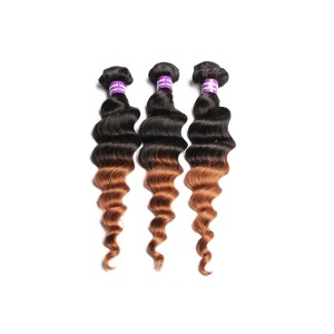 Ombre Hair Weave Color 1b/#30 Loose Wave Virgin Human Hair 3 Bundles