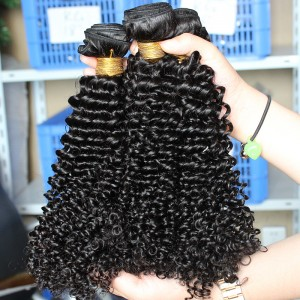 Natural Color Indian Virgin Human Hair Kinky Curly Hair Weave 3 Bundles