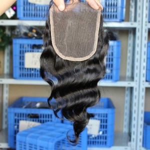 Natural Color Loose Wave Brazilian Virgin Hair Free Part Lace Closure 4x4inches