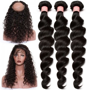 360 Frontal Closure With 3 Bundles Loose Wave Brazilian Virgin Hair 360 Lace Band Frontal Closure