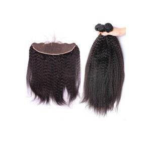 Natural Color Kingky Straight Brazilian Virgin Hair Lace Frontal With 3pcs Weaves
