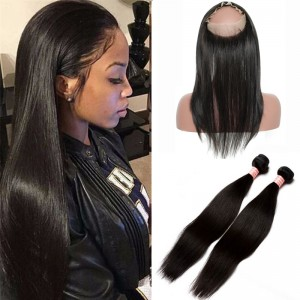 360 Frontal Closure With 2 Bundles Straight Brazilian Virgin Hair 360 Lace Band Frontal