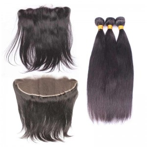Natural Color Silky Straight Malaysian Virgin Hair Lace Frontal Closure With 3Pcs Hair Bundles