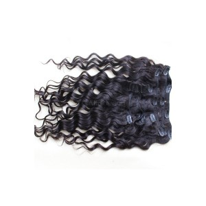 Loose Wave Indian Remy Hair Clip In Human Hair Extensions Natural Color