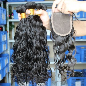 Mongolian Virgin Hair Wet Water Wave Three Part Lace Closure with 3pcs Weaves