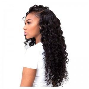 Natural Color Deep Wave Wavy Full Lace Human Hair Wigs Brazilian Virgin Human Hair