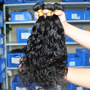 Mongolian Virgin Human Hair Water Wet Wave Hair Weave 3 Bundles Natural Color