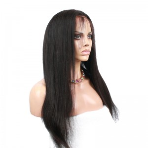 Natural Color Light Yaki Straight Unprocessed Peruvian Virgin Human Hair Full Lace Human Hair Wigs