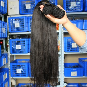 Indian Remy Human Hair Extensions Weaves Yaki Straight 4 Bundles Natural Color