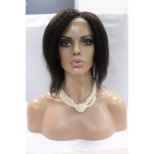 8inch Kinky Straight Full Lace Wigs Natural Color Brazilian Virgin Human Hair