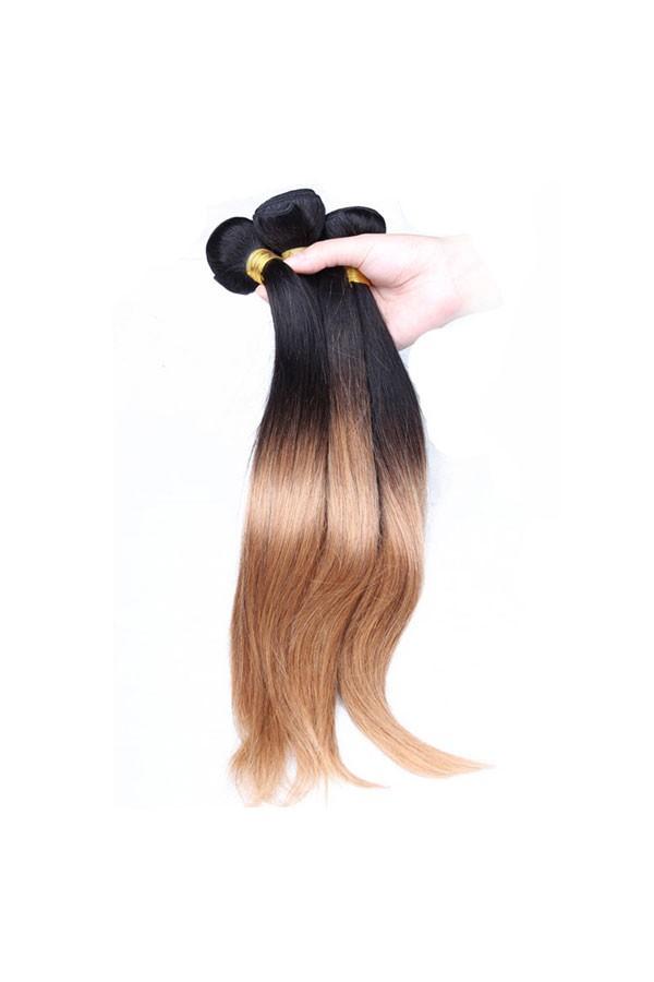 Ombre Hair Weave Color1b27 Straight Virgin Human Hair 3 Bundles
