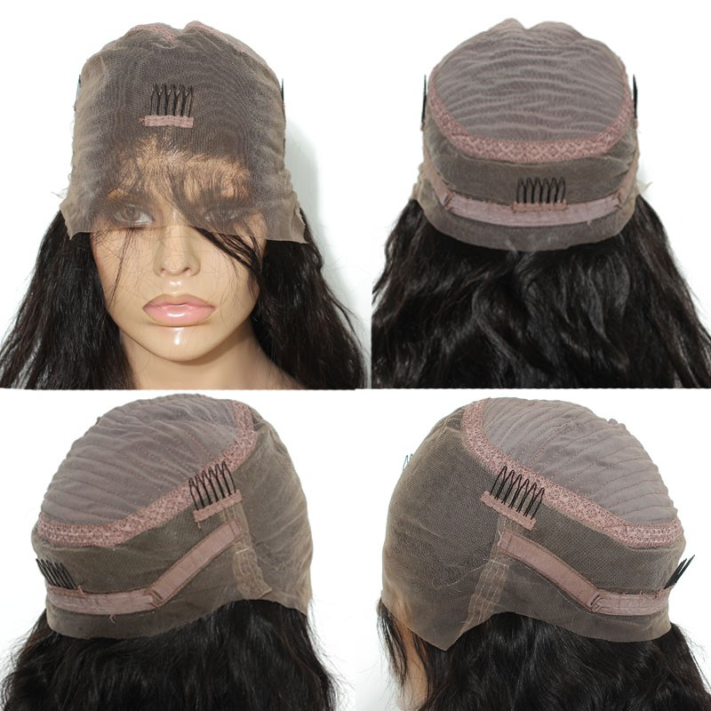 Pre Plucked 360 Lace Wigs 180% Density Full Lace Human Hair Wigs Virgin  Brazilian Straight ... e87b4c23fca2