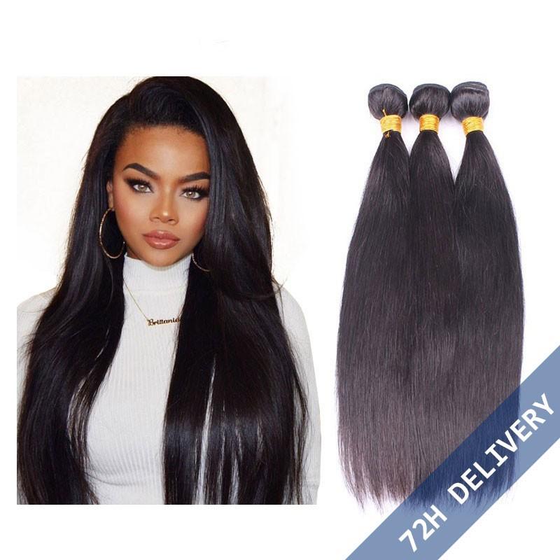 Natural Color Silk Straight Brazilian Virgin Human Hair Extensions