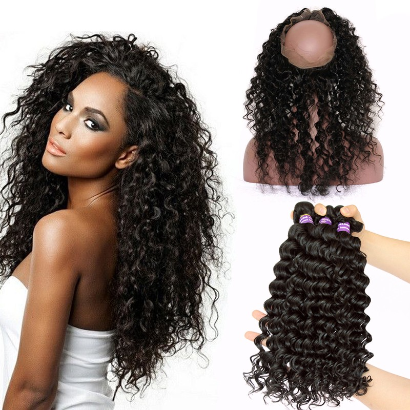 360 Lace Frontal Band Brazilian Virgin Hair Deep Wave 360 Circle Lace  Frontal With Two Bundles 6d7d6526ed