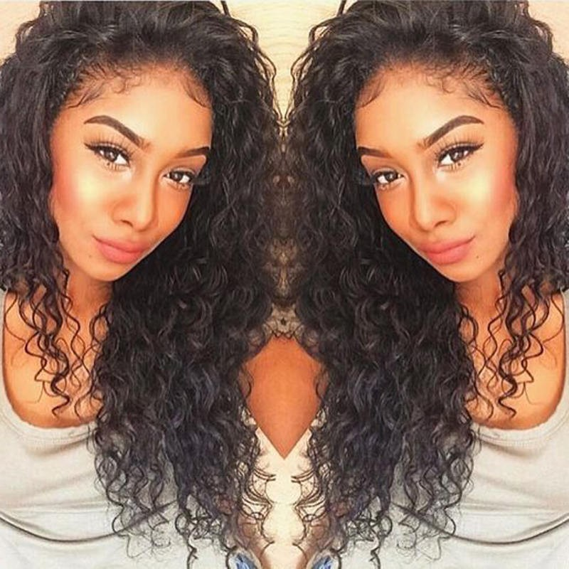 32a6949e30c Deep Wave Lace Front Human Hair Wigs Pre-Plucked Natural Hairline ...